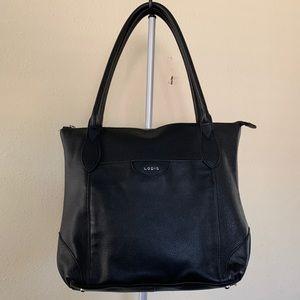 Lodi's black leather tote